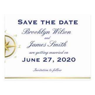 White Nautical Wedding Save The Date Postcards