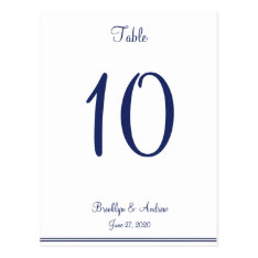 White Nautical Wedding Table Numbers Postcard at Zazzle