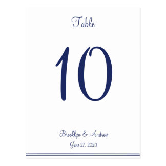 White Nautical Wedding Table Numbers Postcard