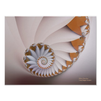 White Nautilus Abstract Seashell Fine Fractal Poster