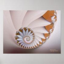 White Nautilus Cute Abstract Seashell Art Poster