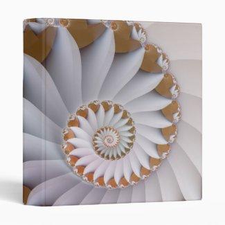 White Nautilus Fine Fractal Art 3 Ring Binder