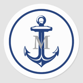 White Navy Blue Anchor | Monogrammed Classic Round Sticker