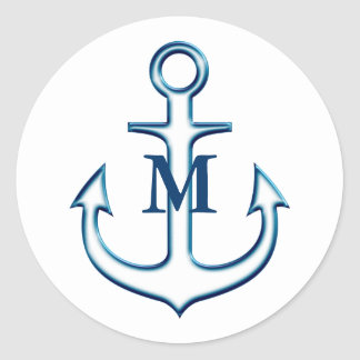 White Navy Blue Anchor Monogrammed Sticker