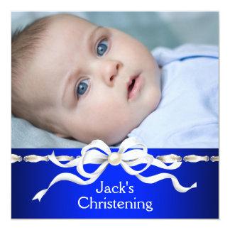 "White Navy Blue Baby Boy Photo Christening 5.25"" Square Invitation Card"