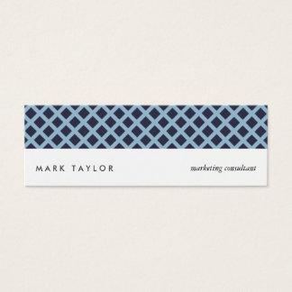 White navy blue congregation criss-cross modern mini business card