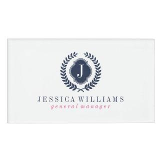 White & Navy Blue Crest Wreath Custom Monogram Name Tag