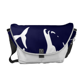 white & navy blue dolphin bag, dolphins courier bag