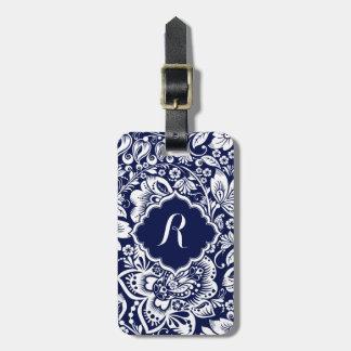 White & Navy Blue Floral Damasks Luggage Tag