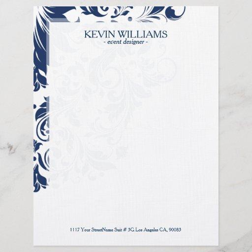 White & Navy Blue Floral Lace Accent Letterhead