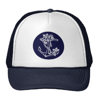 White & Navy Blue Floral Nautical Boat Anchor Trucker Hat