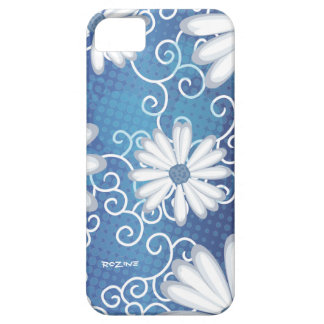 White Navy Blue Floral Tribal Daisy Tattoo Pattern iPhone 5 Case