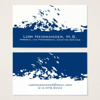 White Navy Blue Flying Birds Business Card