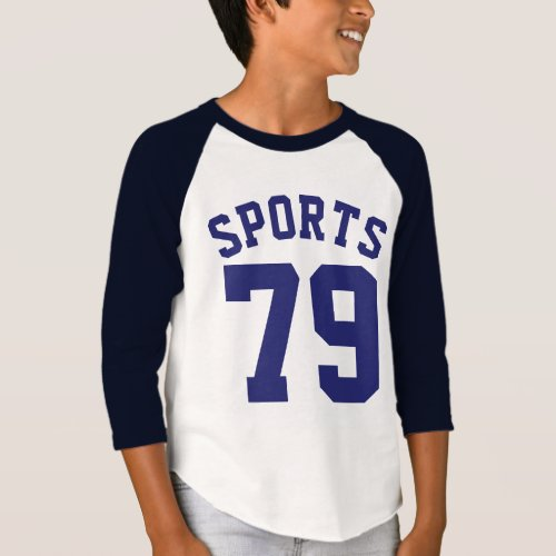 White  Navy Blue Kids  Sports Jersey Design T_Shirt