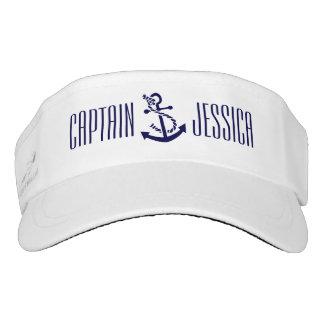White & Navy Blue Nautical Anchor 5 Visor