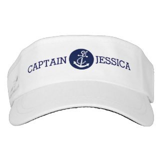 White & Navy Blue Nautical Anchor Visor