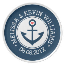 White & Navy Blue Nautical Wedding Boat Anchor Melamine Plate