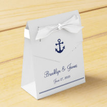 White Navy Blue Nautical Wedding Favor Boxes Tent