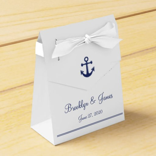 Wedding Favor Boxes White : White navy blue nautical wedding favor boxes tent zazzle