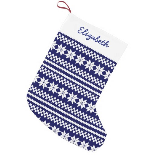 White Navy Blue Nordic Christmas Sweater Pattern Small Christmas Stocking