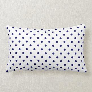 White Navy Blue Polka Dot Spot Pattern Pillow