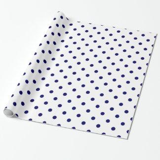White Navy Blue Polka Dot Spot Pattern Gift Wrap Paper