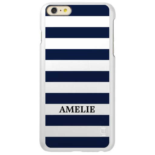 White Navy Blue Stripes Pattern {pick your color} Incipio Feather Shine iPhone 6 Plus Case