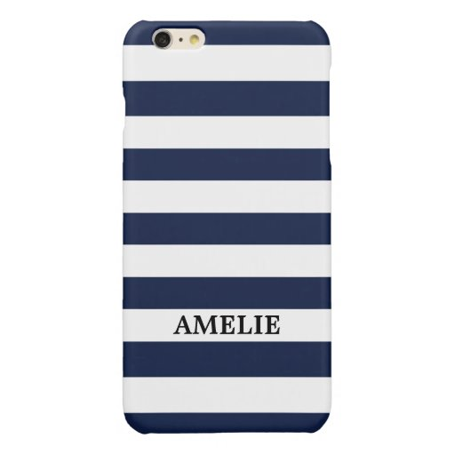 White Navy Blue Stripes Pattern {pick your color} Glossy iPhone 6 Plus Case