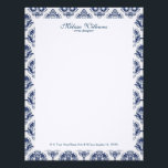"White  &amp; Navy Blue Vintage Damasks Pattern Letterhead<br><div class=""desc"">Elegant navy blue vintage floral damasks pattern over white background,  customizable letterhead template.</div>"