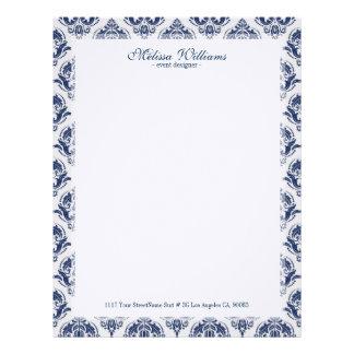 White  & Navy Blue Vintage Damasks Pattern Letterhead