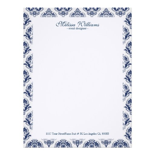 White  & Navy Blue Vintage Damasks Pattern Letterhead