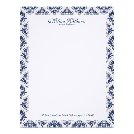 white  u0026 navy blue vintage damasks pattern letterhead