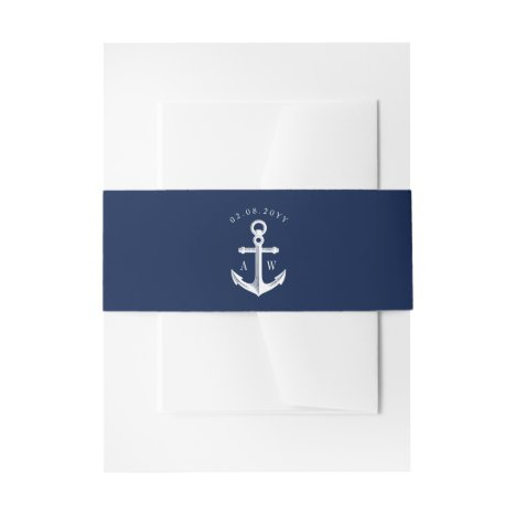 White Navy Nautical Wedding Monogram Invitation Belly Band