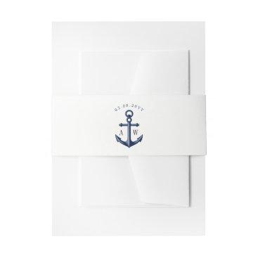 Beach Themed White | Navy Nautical Wedding Monogram Invitation Belly Band