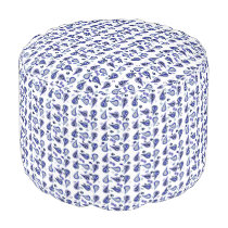 White Navy Royal Blue and Paisley Pouf