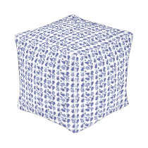 White Navy Royal Blue and Silver Paisley Outdoor Pouf