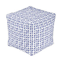 White Navy Royal Blue and Silver Paisley Pouf