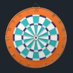 "White, Navy, Turquoise, And Orange Dartboard<br><div class=""desc"">White,  Navy,  Turquoise,  And Orange Colored Dart Board Game Including 6 Brass Darts</div>"