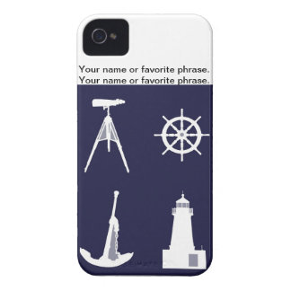 White Navy, Wheel, Helm, Anchor on Navy Blue. Case-Mate iPhone 4 Case