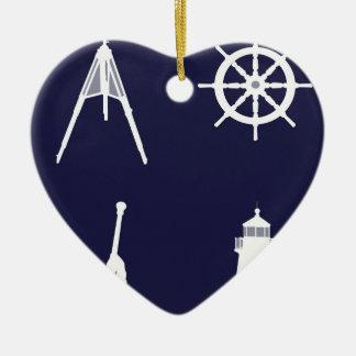 White Navy, Wheel, Helm, Anchor on Navy Blue. Ceramic Ornament