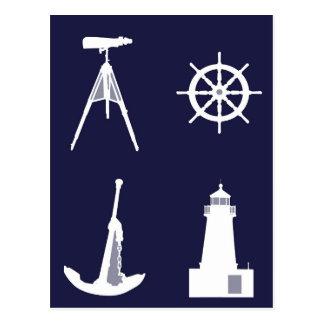 White Navy, Wheel, Helm, Anchor on Navy Blue. Postcard