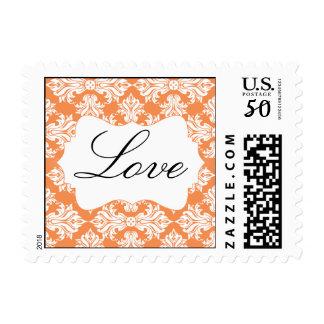 White Nectarine Damask Wedding Love Postage
