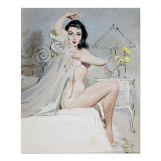White Negligee Pin Up Poster