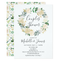 White Neutral Floral Wreath Couples Shower Invitation