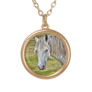 White New Forest Pony Wild Horse Round Pendant Necklace