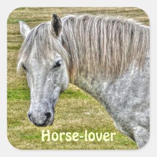 White New Forest Pony Wild Horse Square Sticker
