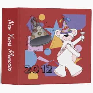 White New Years Bear 3 Ring Binder