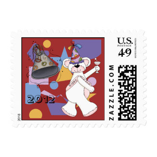 White New Years Bear Postage Stamp