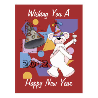 White New Years Bear Postcard