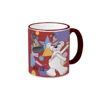 White New Years Bear Ringer Mug